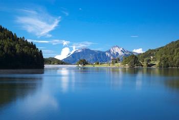 Panorama sul lago, a Balsa di Pinè.