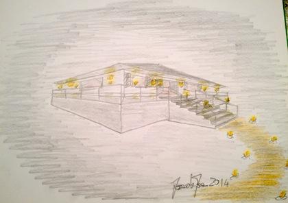 Una casa ispirata al film, le luci, in particolare. Il disegno l'ho intitolato Casa Magica.