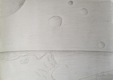 Il disegno della mia visione, di Erikoussa (o Erikousa o Merlera o Ereikoussa) in una zona dell'universo con i pianeti vicini.