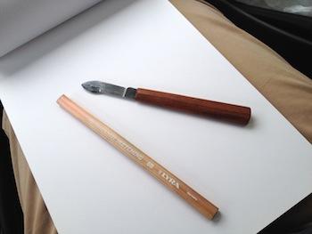 La matita ed il bisturi tempera-matita che ho comprato a Lecce assieme ad Andrea.