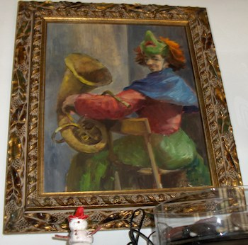Il quadro senza titolo e che io ho chiamato - Ballerina con maschera - del 195, di Werner Nänny, mio nonno.