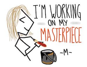 Il disegno che mi rappresenta come Restaurant Coach, su concessione di Maria Majorana.