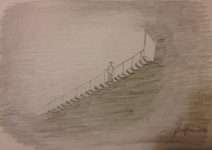 Il disegno di una mia meditazione, l'ho intitolato Scala verso il Profondo.